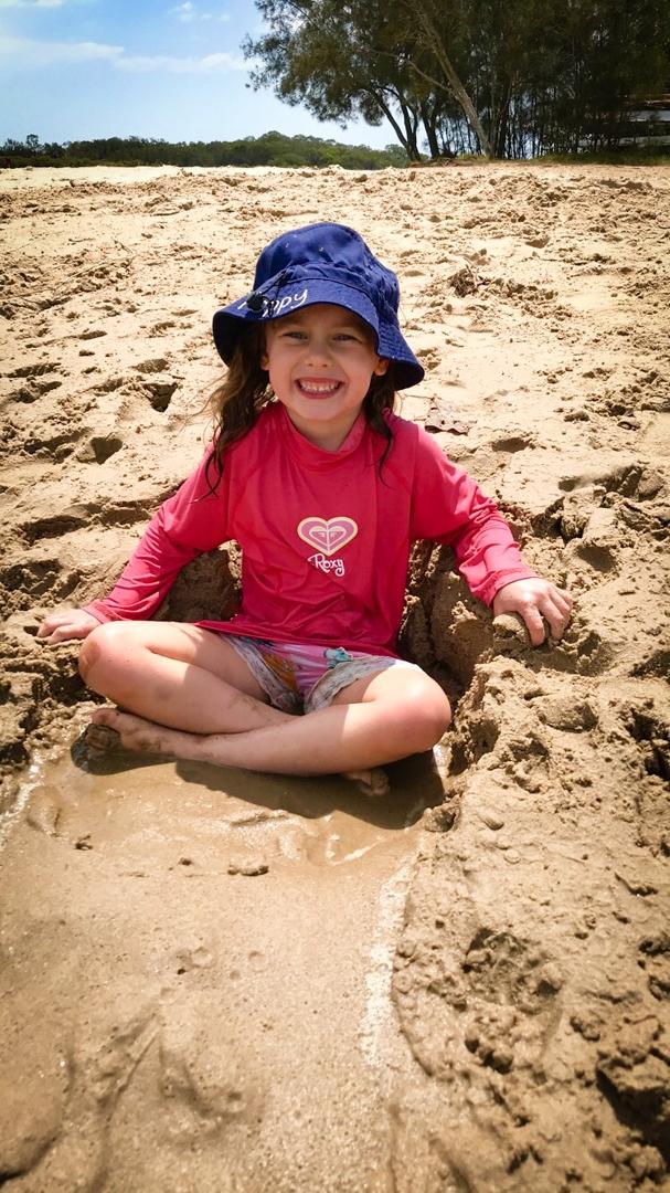 Beach Kindy - Suncoast Little Learner muddy sand slide at Chambers Island