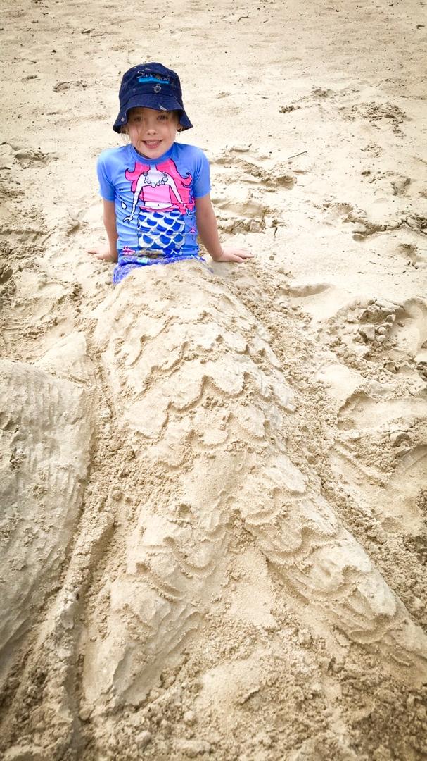 Beach Kindy - Suncoast Little Learner mermais sandcastle at beach